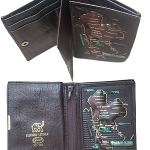 Elephant Leather THAILAND MAP, Multi Comp Wallet